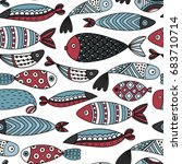 seamless pattern with fishes.... | Shutterstock .eps vector #683710714