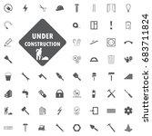 site under construction hook... | Shutterstock .eps vector #683711824