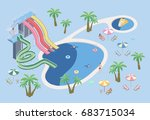 people in aqua park  relax at... | Shutterstock .eps vector #683715034