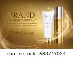 A beautiful cosmetic ads template, golden bottle hair oil with cosmetic tube design on a gold shiny background with splash bokeh and golden lighting flare effect. Luxury beauty skin care magazine | Shutterstock vector #683719024