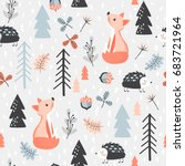 cute seamless pattern with fox... | Shutterstock .eps vector #683721964