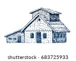 wooden house camping. woodcut... | Shutterstock .eps vector #683725933