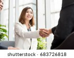 smiling cheerful asian business ... | Shutterstock . vector #683726818