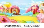 glade in a candy land. sweet... | Shutterstock .eps vector #683726830