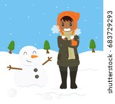 freezing and shivering young... | Shutterstock .eps vector #683729293