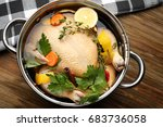 cooking pot with turkey soaked... | Shutterstock . vector #683736058