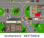 top view large busy... | Shutterstock .eps vector #683736826