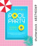 pool party invitation vector... | Shutterstock .eps vector #683740369