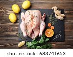 composition with whole raw... | Shutterstock . vector #683741653