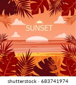 tropical background with palm...   Shutterstock .eps vector #683741974