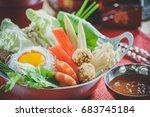japanese sukiyaki in traditional | Shutterstock . vector #683745184