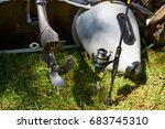 spinning reel for fishing with... | Shutterstock . vector #683745310