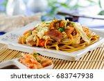 yaki soba noodles  japanese... | Shutterstock . vector #683747938