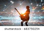 Rock Girl With Guitar. Mixed...