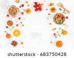 breakfast with muesli  fruits ... | Shutterstock . vector #683750428