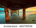 under the bridge by the beach | Shutterstock . vector #683750938
