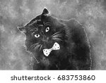 black cat with bow tie on... | Shutterstock .eps vector #683753860