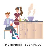 couple cooking dinner at home... | Shutterstock .eps vector #683754706