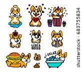 corgi emoji stickers  patches... | Shutterstock .eps vector #683755834