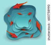 paper cut cartoon red fish on... | Shutterstock .eps vector #683758990