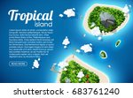 tropical island top view sea... | Shutterstock .eps vector #683761240