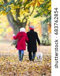 Stock photo senior couple are walking through the autumn woods with their pet dog 683762854