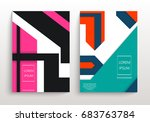 covers with minimal design.... | Shutterstock .eps vector #683763784