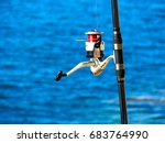 fishing rod with a spinning... | Shutterstock . vector #683764990