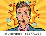 kissed the embarrassed man with ... | Shutterstock .eps vector #683771389