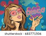 Beautiful Woman Disco. Pop Art...