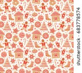 winter seamless patterns with... | Shutterstock .eps vector #683778574