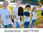 young pupils keeping their tools | Shutterstock . vector #683779783