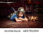 cute dreamer boy playing with... | Shutterstock . vector #683781004