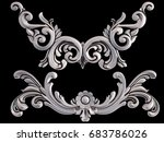 chrome ornament on a black... | Shutterstock . vector #683786026