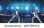 two female fencing athletes... | Shutterstock . vector #683789413