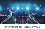 two female fencing athletes... | Shutterstock . vector #683789419