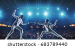 two female fencing athletes... | Shutterstock . vector #683789440