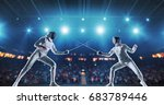 two female fencing athletes... | Shutterstock . vector #683789446