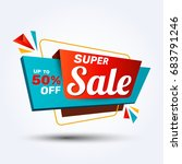 super sale discount banner... | Shutterstock .eps vector #683791246
