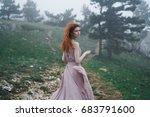 a woman in a dress is running...   Shutterstock . vector #683791600