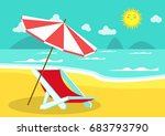 seaside view with an umbrella... | Shutterstock .eps vector #683793790