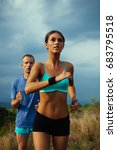 couple jogging and running... | Shutterstock . vector #683795518