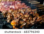 preparation bbq on the... | Shutterstock . vector #683796340