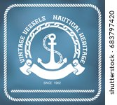 sailing badge with anchor and... | Shutterstock .eps vector #683797420