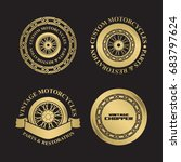 motorcycle emblems in gold... | Shutterstock .eps vector #683797624