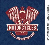 motorcycle emblems in red and... | Shutterstock .eps vector #683798068