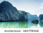 tourist boat in the halong bay  ... | Shutterstock . vector #683798368