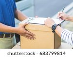 parcel delivery of a package... | Shutterstock . vector #683799814
