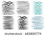 wavy lines  brush drawing.... | Shutterstock .eps vector #683800774