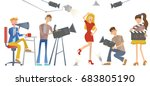 shooting a movie or a tv show.... | Shutterstock .eps vector #683805190